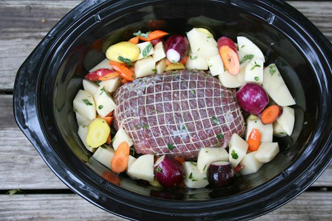 Preparing Simple Roast in the Crockpot