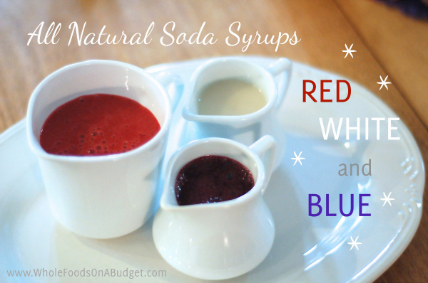 Red, White and Blue Sodas are such a cool addition to Memorial Day or Fourth of July Parties!!! If you are hosting a cookout or get-together, these soda syrups can be made in just a few minutes each! So fun!