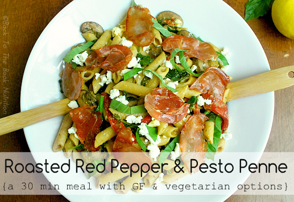 This Roasted Red Pepper and Pesto Penne recipe is perfect because it's delicious and hearty, yet it's an easy one-dish dinner that only requires 30 minutes in the kitchen!