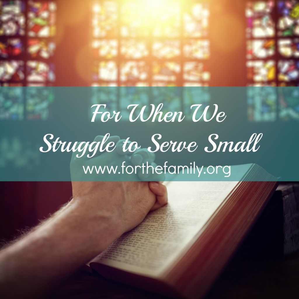 Do you find yourself seeking the accolades of man instead of the affirmation of God in your ministry, work and home? Sometimes, we are called to love small, to love the invisible and to enjoy the presence and comfort of God alone as we serve our families.