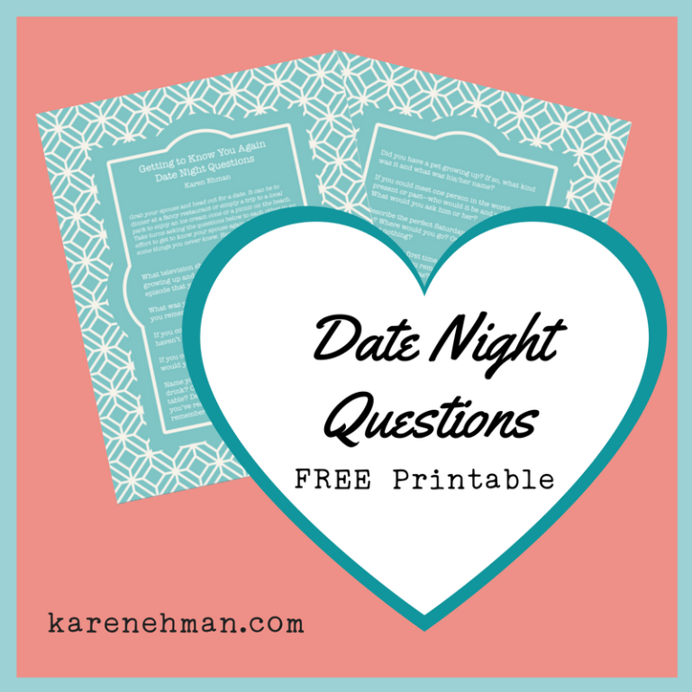 FREE getting to know your spouse again printable PDF from Karen Ehman for For The Family.