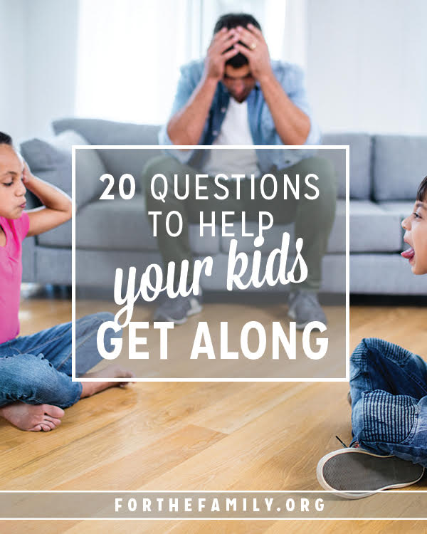 How do you handle sibling squabbles? Getting to the heart of why it is important to use words that encourage instead of tear down can be a tough job as a parent! These 20 questions are here to help. Use them anytime with your children to stir conversation and help them learn to love and care for one another.