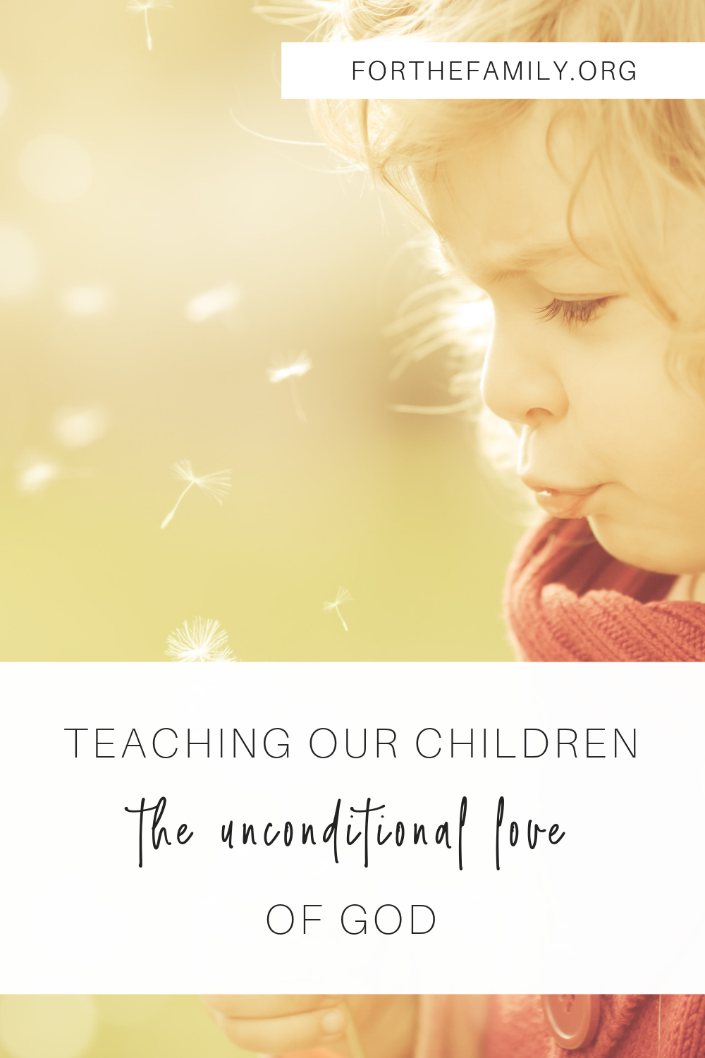 Our imperfect human love is no match for Gods perfect love for them. And as much as they need to know that we love them unconditionally, our kids need to know that God loves them, unconditionally, perfectly, just as they are! Come be inspired to share his heart with your family today.