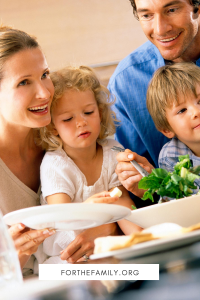 Stock Image of family eating. forthefamily.org