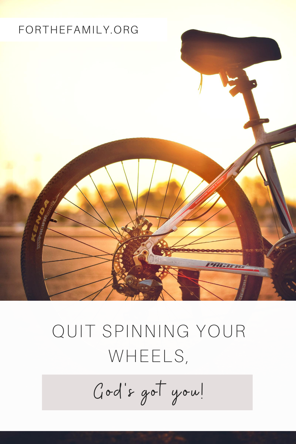 Do you feel like you are spinning your wheels but not getting anywhere? You are not alone! We endlessly strive to try and control our situations, while God waits lovingly for us to submit and allow Him to move and work in our lives! Let's stop peddling, and enjoy the ride!