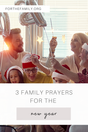 """Family celebrating stock image. """"3 Family Prayers for the New Year"""""""